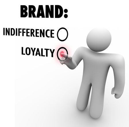 Een klant kiest merkentrouw dan onverschilligheid op basis van een bedrijf of een product de reputatie als een leider onder de vele keuzes en concurrenten Stockfoto