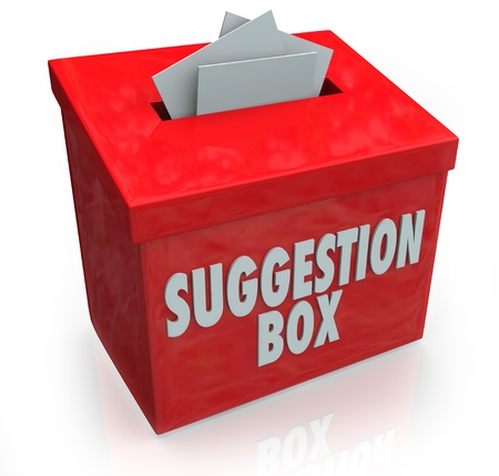 A red Sugestion Box with notes of paper stuffed into its slot offering feedback, comments and constructive criticism for improvement photo