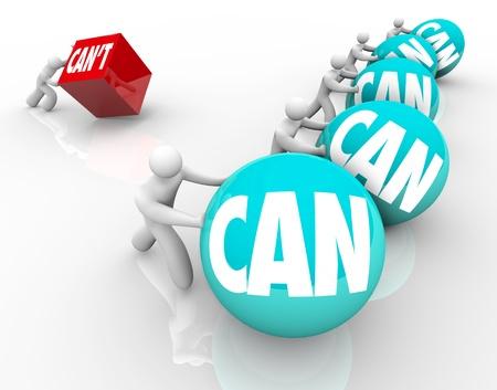 compromiso: La importancia de la actitud positiva con varios competidores empujando bolas marcadas Can y una persona perder cubo empujando marcado No se puede
