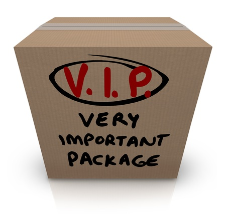 sent: A cardboard box shipment with the words VIP Very Important Package written on it to represent the urgency and expedited express handling of a special parcel for delivery