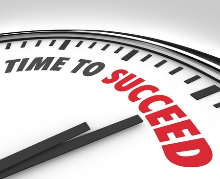 motivating: The words Time to Succeed on a white clock face to inspire or motivate you to achieve a goal or improve toward a mission or business plan