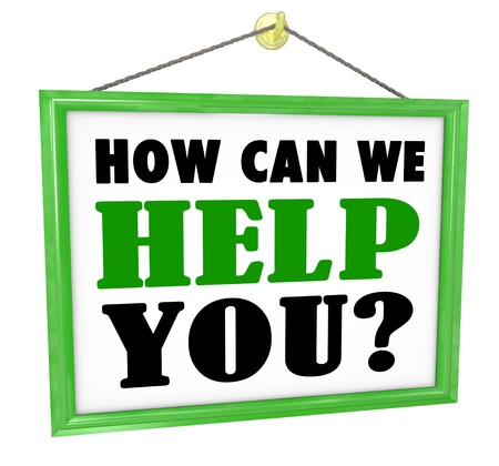 asking: The words How Can We Help You on a hanging store offering customer service and assistance Stock Photo