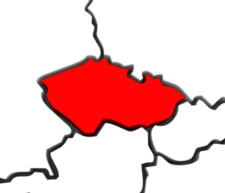 czechoslovakia: An abstract stylized map of central Europe, focused on the Czech Reupulic in red and other countries such as Germany, Poland, Austria and Slovakia surrounding it