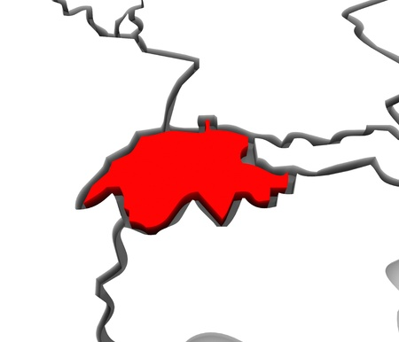 east coast: A close up of Switzerland on an abstract 3d map of European countries