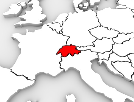 An abstract 3d map of Europe the continent and several countries, with Switzerland highlighted in red Standard-Bild