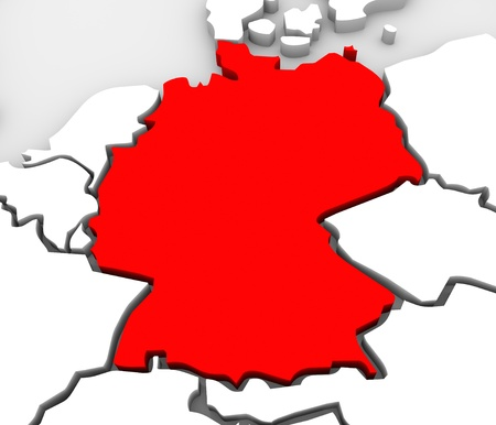 白の国とヨーロッパの抽象の地図と赤でドイツ