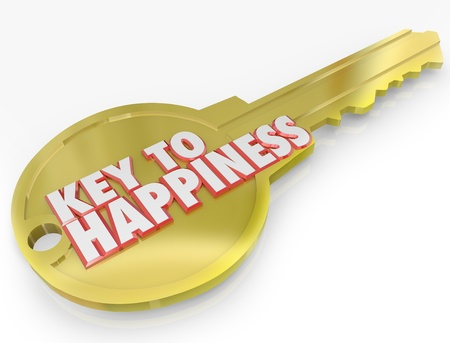 joyous life: A golden metal key with the words Key to Happiness symbolizing the secret to success and joy in life Stock Photo