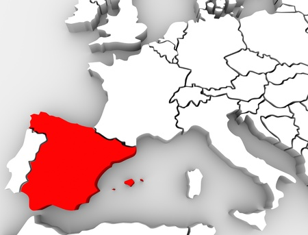 espana: The country of Spain highlighted on an abstract 3D map of Europe