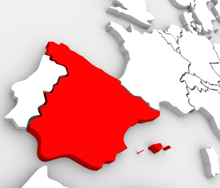 An abstract 3d map of Europe the continent and several countries, with Spain highlighted in red, surrounded by Portugal, France, the United Kingdom, Germany and other European states