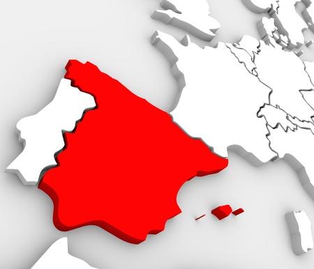 Un mapa 3d abstracto de Europa, el continente y varios países, con España en rojo, rodeado de Portugal, Francia, Reino Unido, Alemania y otros países europeos Foto de archivo - 18855465