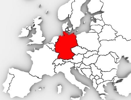 central: An abstract map of Europe with the country of Germany in red and other European countries in white