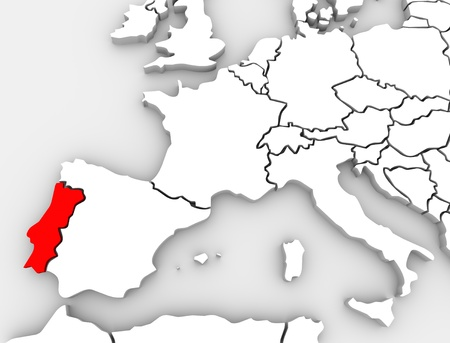 western europe: A 3d illustrated abstract map of the European continent with the county of Portugal highlighted in red, alongside countries such as Spain, Germany and France