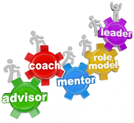 role models: People marching on gears with the words Advisor, Coach, Mentor, Role Model and Leader to symbolize learning from an experienced person who can guide you to your goals in life