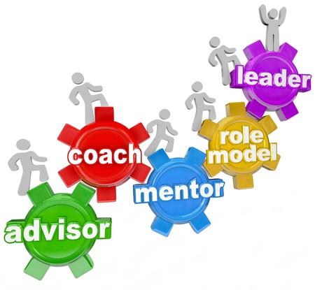 lead: Persone che marciano su ingranaggi con le parole Advisor, Coach, Mentor, Modello e Leader per simboleggiare imparare da una persona esperta che vi pu� guidare per i tuoi obiettivi nella vita