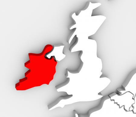 The country Ireland on a 3d abstract map with the United Kingdom beside it and the Atlantic Ocean photo
