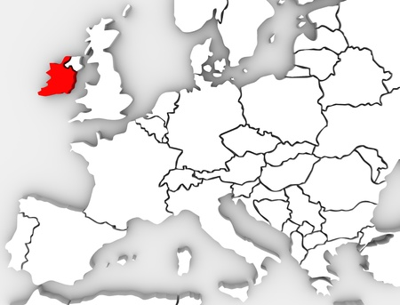 An abstract 3d map of Europe with the country Ireland highlighted in red surrounded by other nations such as the United Kingdom, France, Germany and Spain