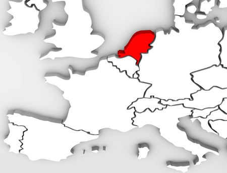 An abstract 3d map of Europe the continent and several countries, with the Netherlands highlighted in red, surrounded by Belgium France, the United Kingdom, Germany and other European states