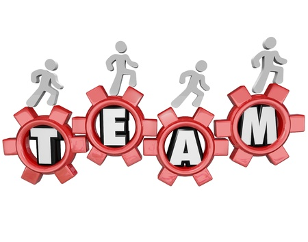 marchers: A group of people or workers marching on gears with the word Team to symbolize teamwork, organization, collaboration and togetherness