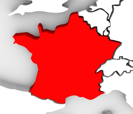 The country of France highlighted in red on an illustrated 3D map of Europe Banco de Imagens
