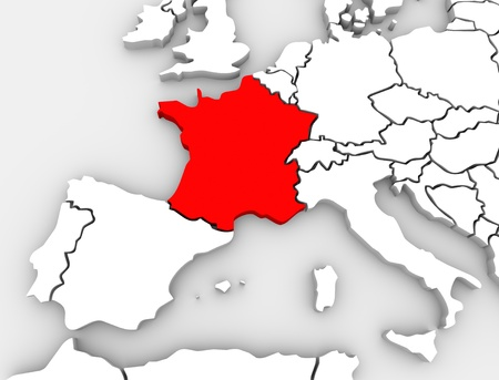 An abstract 3d map of Europe the continent and several countries, with France highlighted in red, surrounded by Spain, the United Kingdom, Germany and other European states photo