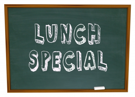 specials: Lunch Special words on a restaurant chalkboard advertsing a daily meal discount or unique dish at a diner or eatery Stock Photo