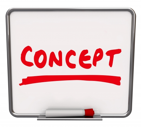 The word Concept written on a dry erase board with a red marker to show an idea, innovation or creative solution to a problem Stock Photo - 18912056