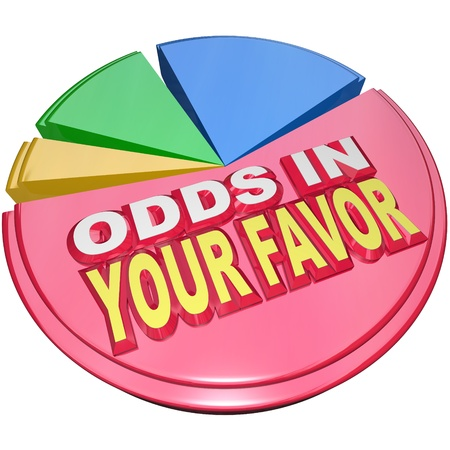 favor: Odds in Your Favor words on a pie chart illustrating the advantage you hold in a competition versus others competiting in a game or business Stock Photo