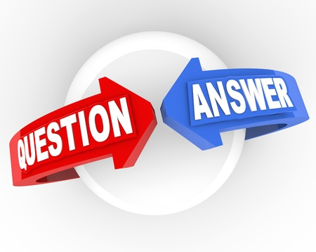 The words Question and Answer on arrows around a globe to symbolize finding a solution to a problem Stock Photo - 18912083