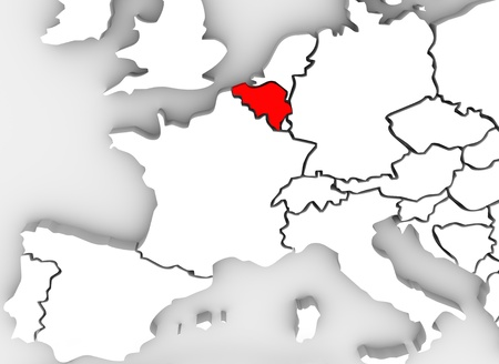 neighboring: Belgium country in illustrated 3d abstract map showing neighboring countries such as France, Luxembourg, Germany, Spain, Austria and others