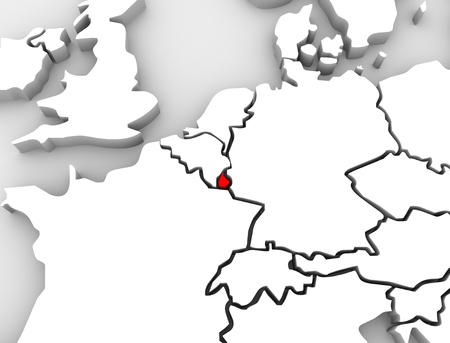 europe: An abstract 3d map of Europe the continent and several countries, with Luxembourg highlighted in red alongside countries such as France, Belgium and Germany
