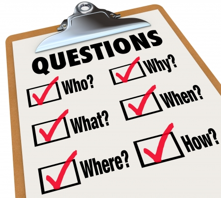 A survey with reserach questions Who, What, Where, When, Why, How and check boxes and marks to symbolize searching for answers to important mysteries Stock Photo - 18985404