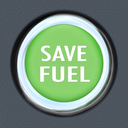 less: A green car start button with words Save Fuel to symbolize reducing usage of gasoline or other fuel to be environment friendly and use power and energy in a smarter way