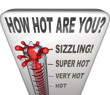 attractiveness: La pregunta �C�mo Hot usted est� en un term�metro para medir su atractivo, sensualidad, popularidad, o simplemente preguntando lo que su temperatura es Foto de archivo