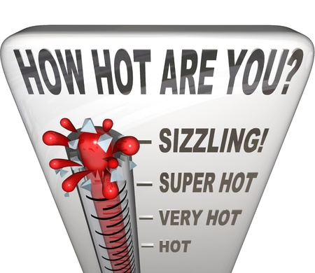 The question How Hot Are You on a thermometer measuring your attractiveness, sexiness, popularity, or just wondering what your temperature is Stock Photo - 18985409