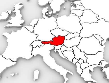 An abstract 3d map of Europe the continent and several countries, with Austria highlighted in red, surrounded by Germany, Switzerland, Italy and other European states