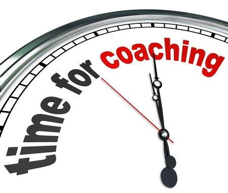 The words Time for Coaching on a clock to illustrate the need to learn or be trained by a role model, coach, teacher, manager, mentor or assistant