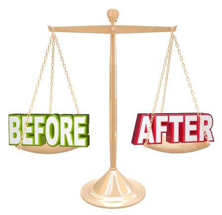 The words Before and After on a gold scale to show results and improvement over time Stock Photo - 18985414