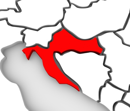An abstract 3d map of Europe and the central or eastern region with Croatia highlighted in red and surrounding countries bosnia, herzegovina, serbia, slovenia and others Stock Photo - 19046157