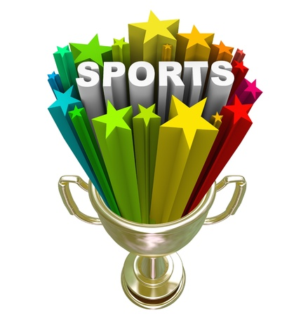 The word Sports in a starburst in a gold trophy to symbolize winning, champion, athletes and physical activity Stock Photo - 19046162