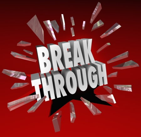 the through: The word Breakthrough breaking through glass to symbolize discovery, invention, creativity, ideas and brainstorming