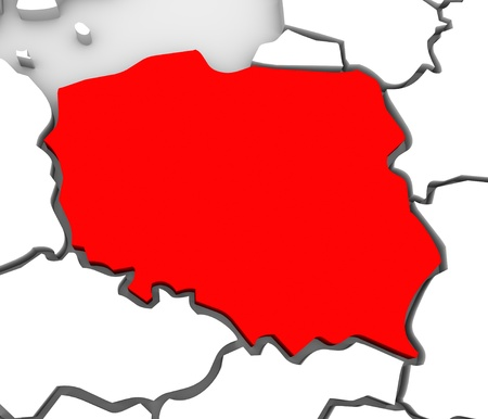 serbia: An abstract 3d map of Europe and the northern and eastern region with Poland highlighted in red and surrounding countries Germany and others Stock Photo