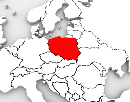 An abstract 3d map of Europe and the northern and eastern region with Poland highlighted in red and surrounding countries Germany and others Stok Fotoğraf