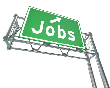The word Jobs on a green freeway sign pointing you to open positions and a new career and employment Stock Photo - 19046173