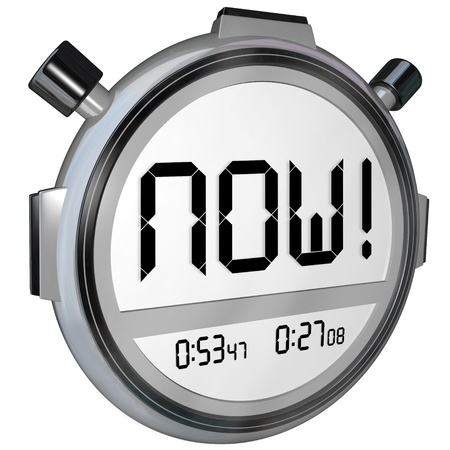 important reminder: The word Now on a stopwatch timer digital display to represent the present, an urgent reminder of something important you must do or winning a competition