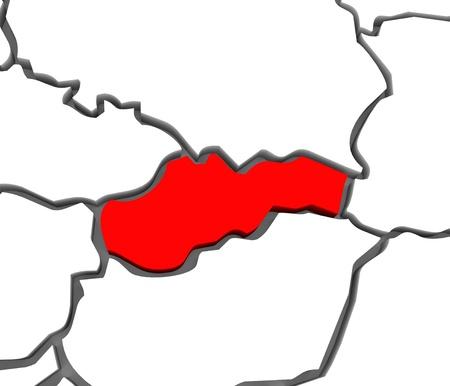 それを囲むポーランド、オーストリア、チェコ共和国などの諸国とヨーロッパ地図、抽象的なスロバキアの国