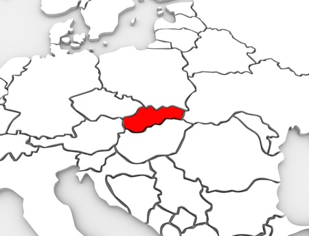 The country of Slovakia on an abstract map of Europe with nations such as Poland, Austria and Czech Republic surrounding it