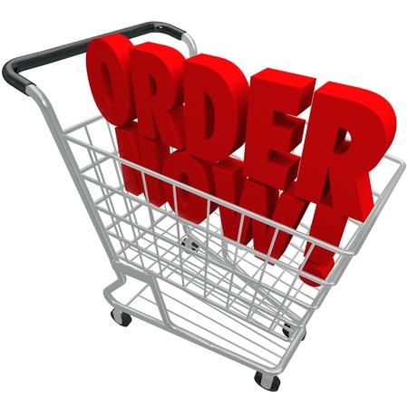 E コマースの閲覧やオンライン ストアまたは店からの購入を象徴するショッピング バスケット内の単語を今すぐ注文します。