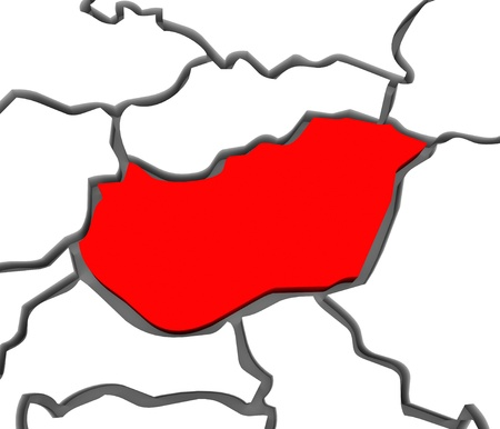 国または 3d ハンガリーの国家抽象囲まれて他の欧州諸国、ウクライナ、クロアチア、スロバキア、オーストリアなどヨーロッパ大陸の地図