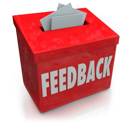 A red Feedback box for collecting employee or customer ideas, thoughts, comments, reviews, ratings, suggestions or other communication or information photo