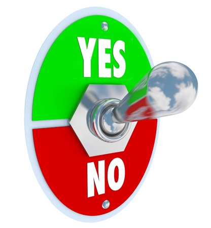 The words Yes and No on a toggle switch lever for you to decide or choose whether you accept or reject an idea or proposal Stock Photo - 19046176